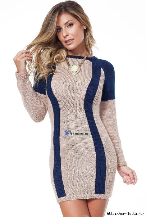 Платье спицами, которое будет стройнить (2) (470x700, 196Kb)