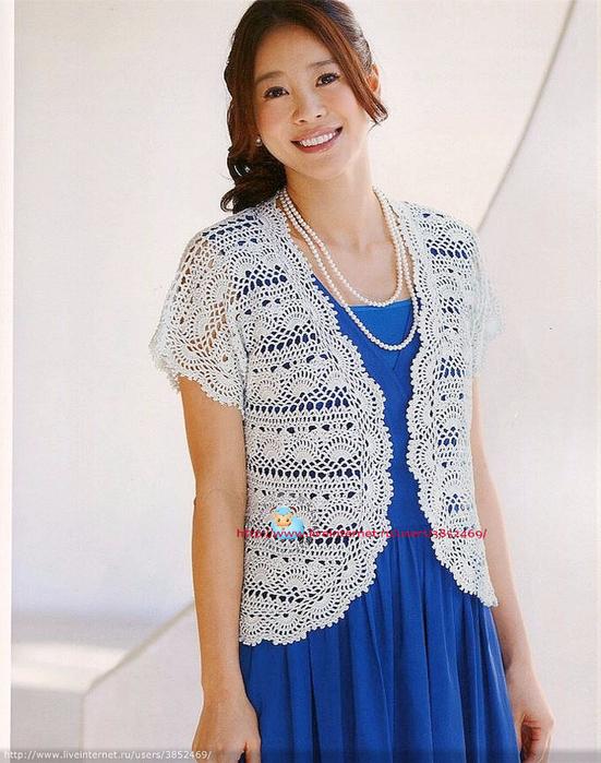 Белый кардиган из Let's Knit series (551x700, 401Kb)