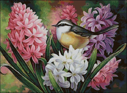 Птичка и гиацинты_А (500x366, 288Kb)
