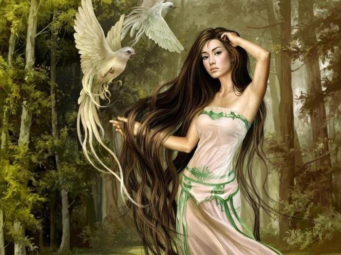 женщина и птица (700x525, 285Kb)