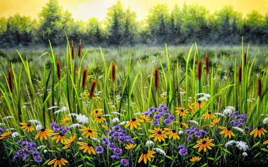 Cattails & Wildflowers (551x343, 342Kb)