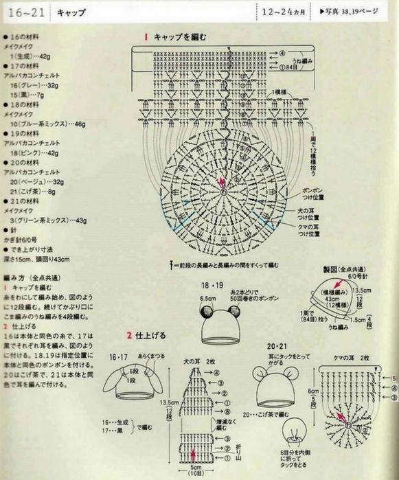 Детские шапочки вязанные крючком. схема вязания крючком/3071837_042 (581x700, 276Kb)