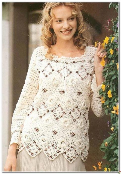 Вязание крючком. Нарядный пуловер. схема вязания/3071837_071 (487x700, 269Kb)