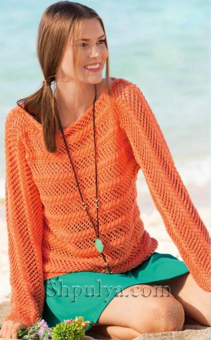 Ажурный оранжевый пуловер, связанный поперек, ажурный пуловер спицами описание схема, ажурный пуловер спицами для женщин, ажурные кофточки спицами с описанием, схема ажурного пуловера спицами, вязаный женский пуловер, вязание для лета, вязаные модели с описанием, вязание спицами для женщин с описанием, сайт о вязании, купить пряжу из кашемира, интернет магазин пряжи, Шпуля сайт о вязании, www.shpulya.com,/5557795_1813 (435x700, 245Kb)