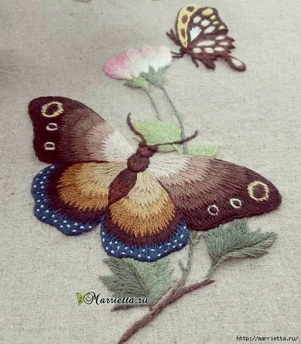 Вышивка гладью Бабочка (19) (587x671, 293Kb)