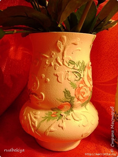 Декоративная бутылка и вазочка из плафона. Декупаж (14) (450x600, 167Kb)