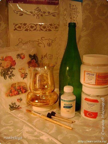 Декоративная бутылка и вазочка из плафона. Декупаж (16) (450x600, 154Kb)