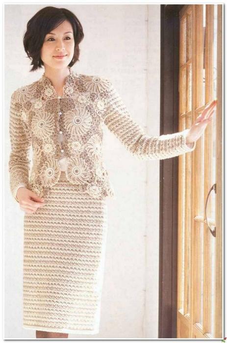 Костюм, юбка и жакет связанные крючком со схемами вязания./3071837_251 (463x700, 212Kb)
