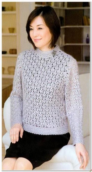 Ажурный пуловер связанный крючком. схема вязания/3071837_271 (374x700, 209Kb)