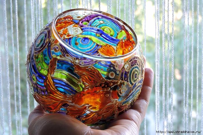 ваза подсвечник ЗОЛОТЫЕ РЫБКИ от Shraddha (6) (700x466, 333Kb)