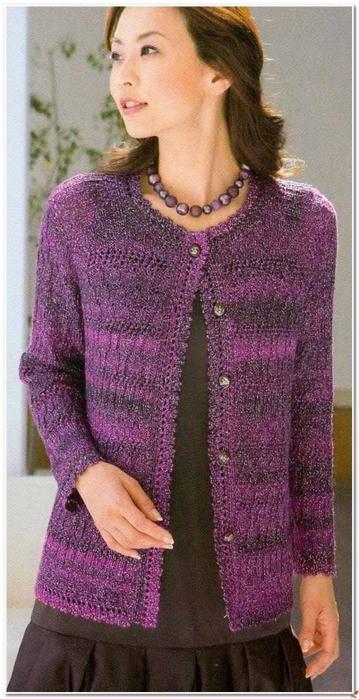 Вязание спицами. Фиолетовый кардиган. схема вязания/3071837_331 (359x700, 220Kb)
