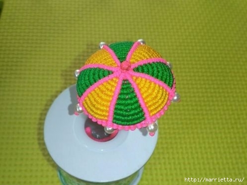 Плетение миниатюрного зонтика для куклы (12) (497x372, 86Kb)