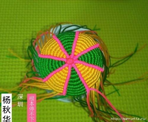 Плетение миниатюрного зонтика для куклы (9) (500x412, 117Kb)