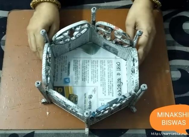 Декоративная корзинка из газетных трубочек (2) (627x455, 157Kb)
