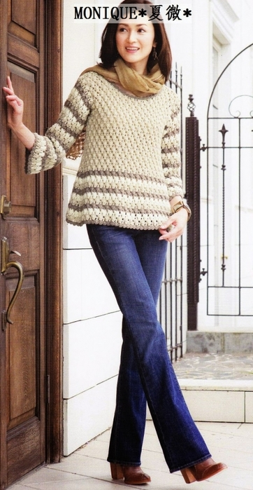 Вязание крючком. Расклешенный пуловер схема вязания крючком/3071837_231 (362x700, 205Kb)
