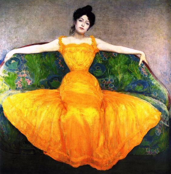 Max Kurzweil  Dame im Gelben Kleid 1899 (564x574, 319Kb)