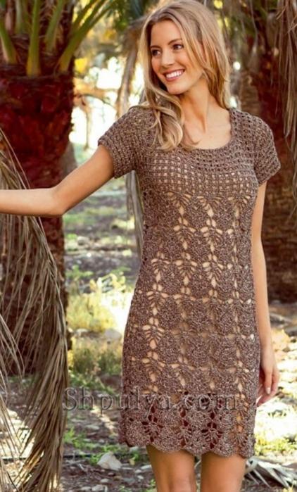 Платье ажурное крючком для женщин