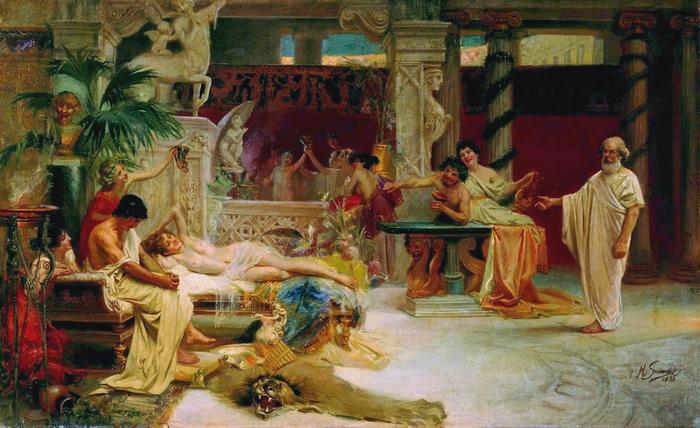 Семирадский. Сократ находит учеников у гетеры (700x428, 427Kb)
