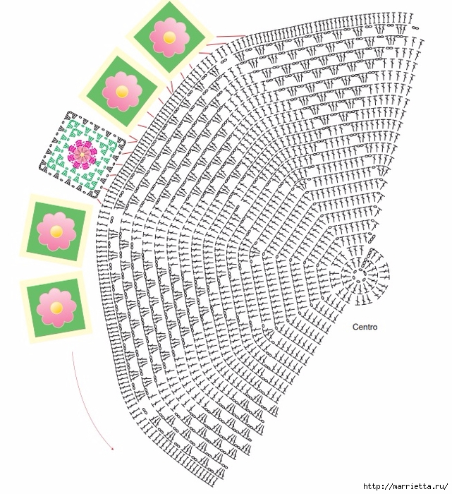 Круглый коврик крючком с розочками. Схемы вязания (1) (641x700, 352Kb)