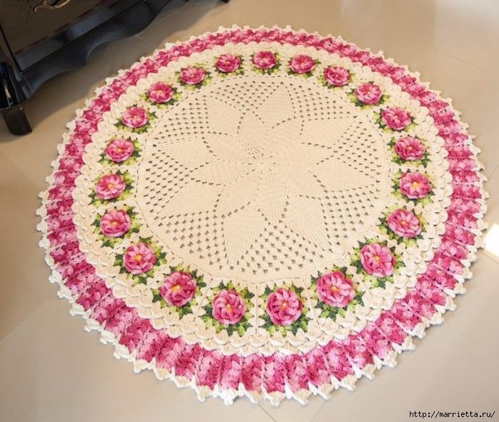 Круглый коврик крючком с розочками. Схемы вязания (3) (700x591, 349Kb)