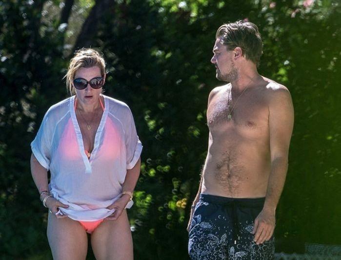Кейт Уинслет и Леонардо Ди Каприо на отдыхе у бассейна в Сен Тропе