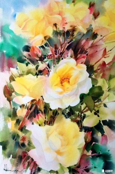 акварельные цветы 20 (463x700, 377Kb)