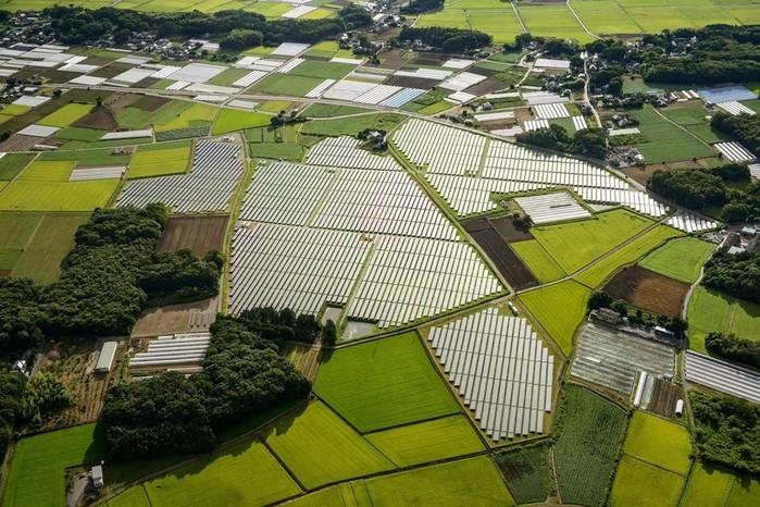 Вид сверху на японские солнечные панели