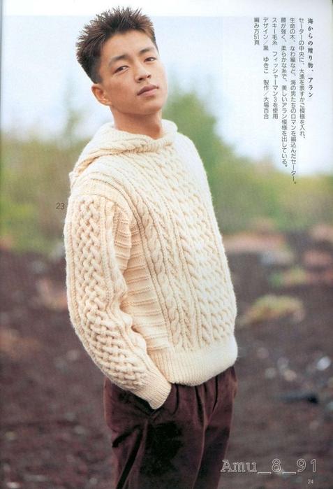 Теплый пуловер с капюшоном связанный спицами со схемой вязания/3071837_23 (477x700, 229Kb)