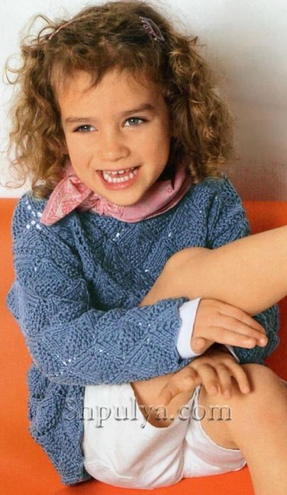 Ажурный пуловер для девочки, связанный спицами, пуловер с ажурный узором для девочки, пуловер для девочки спицами описание схема, вязаный свитер для девочки спицами, кофта для девочки, вязание для детей с описанием, вяжем детям спицами, пуловер для девочки 5-8 лет, сайт о вязании, купить пряжу, пряжа для вязания, /5557795_1859_1 (406x700, 223Kb)