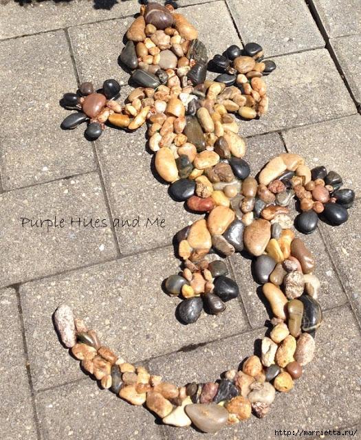 Ящерка из гальки - украшение handmade для сада (12) (525x640, 387Kb)