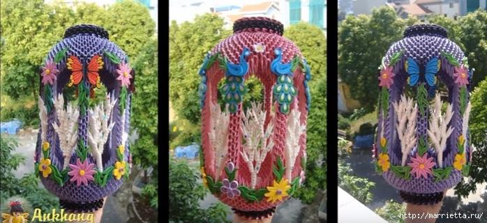 Очень красивый фонарь с цветами и бабочками. Модульное оригами (9) (700x320, 231Kb)