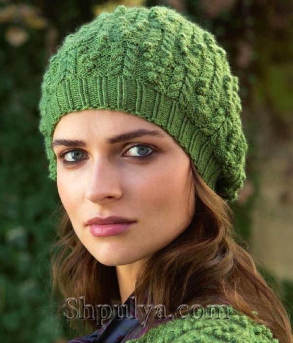 Зеленая шапка с косами и шишечками, шапка спицами описание и схема, как связать шапку спицами, вяжем женскую шапку, шапка спицами, вязание шапки, сайт о вязании, пряжа в наличии, купить пряжу, итальянская пряжа в бобинах, /5557795_1895_1 (598x700, 108Kb)