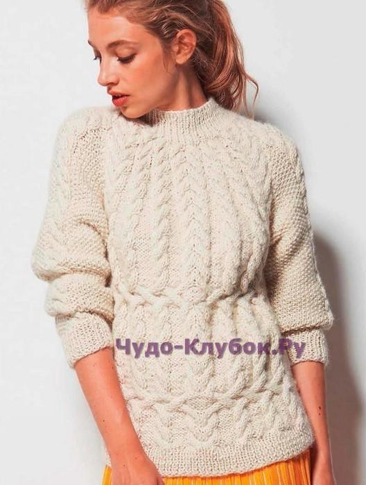 Белый пуловер с косами вязание