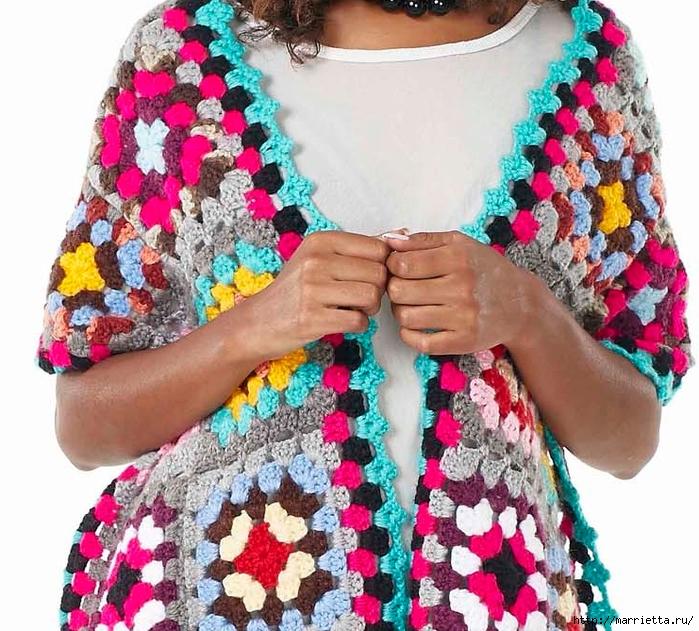 Красочный шарф крючком бабушкиными квадратами (2) (700x631, 372Kb)