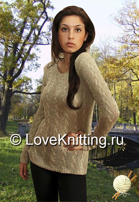 09 Пуловер с косами МТ2 (482x700, 422Kb)