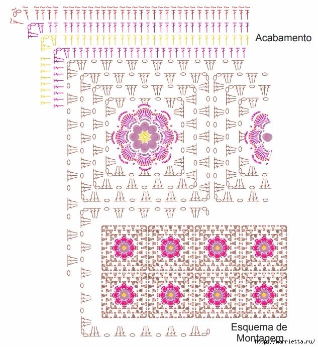 Крючком. Коврик с цветами из пряжи травка (6) (633x691, 352Kb)