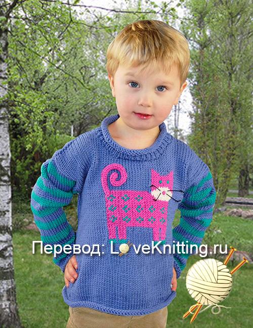 07 Пуловер с котом МТ2 1 (500x648, 384Kb)