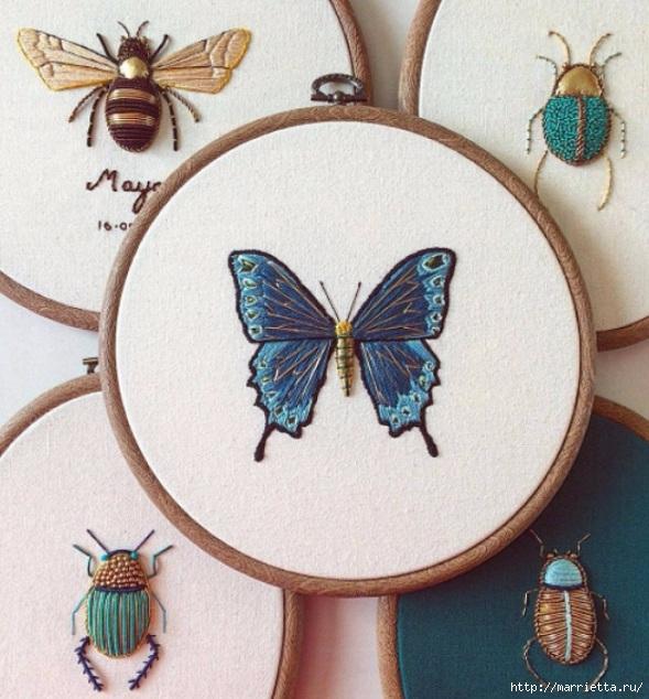 Объемная вышивка. Бабочки в вышивке гладью (29) (589x634, 247Kb)