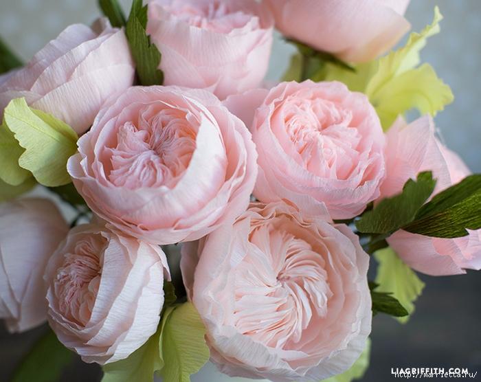 Английская роза из гофрированной бумаги (6) (700x556, 292Kb)