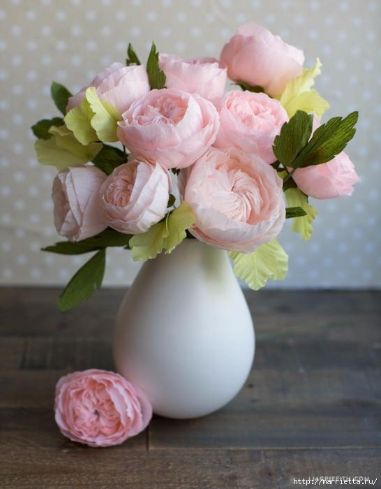 Английская роза из гофрированной бумаги (8) (546x700, 237Kb)