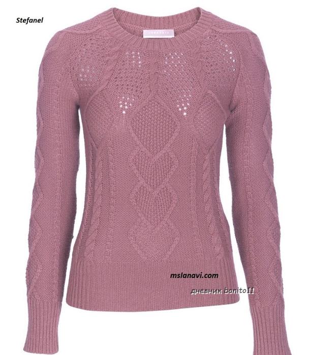 Вязаный-пуловер-спицами-от-Stefanel-полочка-896x1024 (612x700, 295Kb)