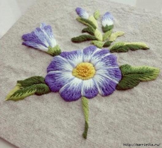 Цветы объемной вышивкой гладью. Красивые работы (1) (528x481, 176Kb)