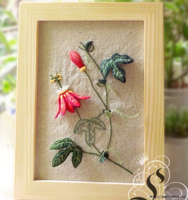 Цветы объемной вышивкой гладью. Красивые работы (11) (610x650, 266Kb)