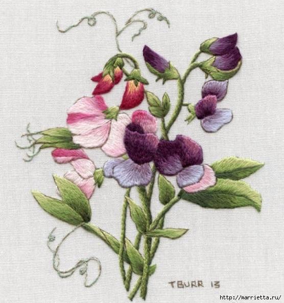 Цветы объемной вышивкой гладью. Красивые работы (40) (556x594, 218Kb)