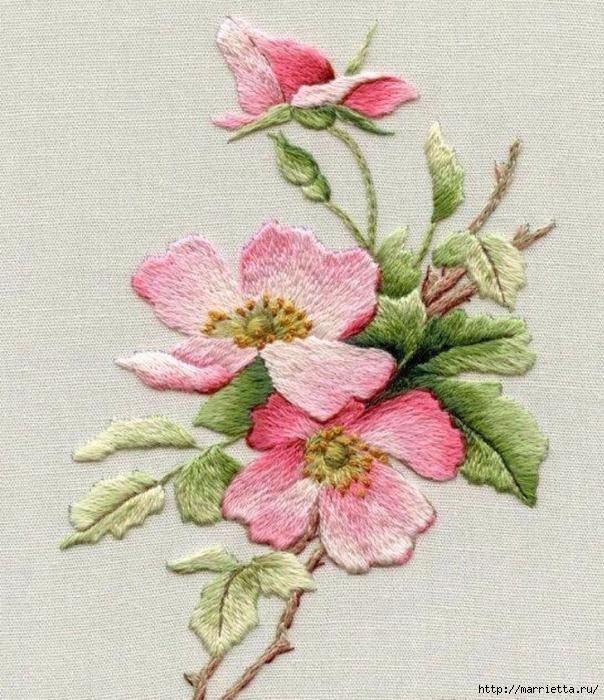 Цветы объемной вышивкой гладью. Красивые работы (42) (604x700, 382Kb)