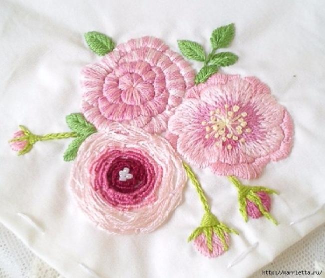 Цветы объемной вышивкой гладью. Красивые работы (46) (651x556, 217Kb)