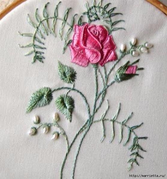 Цветы объемной вышивкой гладью. Красивые работы (52) (557x597, 193Kb)