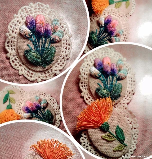 Цветы объемной вышивкой гладью. Красивые работы (54) (642x672, 406Kb)