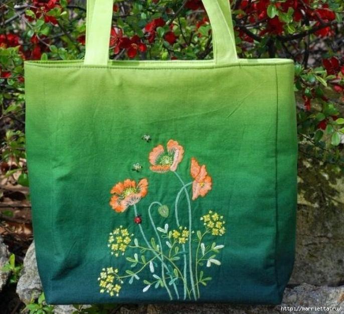 Цветы объемной вышивкой гладью. Красивые работы (56) (686x627, 280Kb)