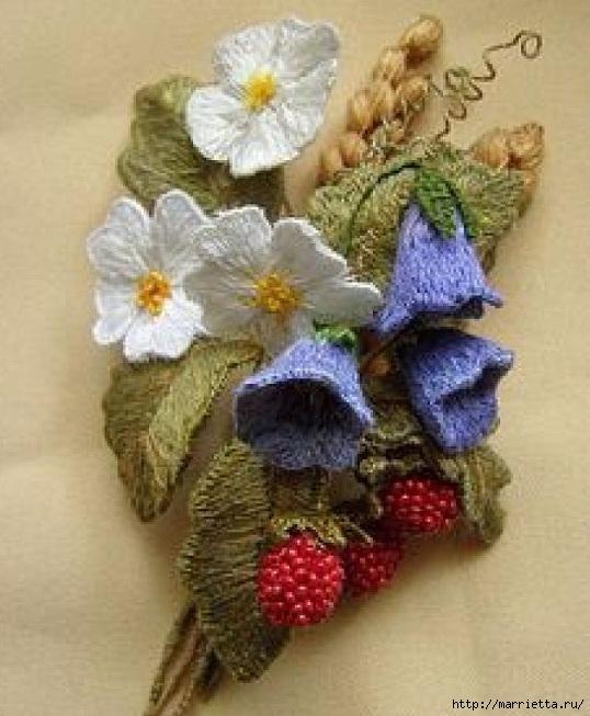 Цветы объемной вышивкой гладью. Красивые работы (60) (538x653, 204Kb)